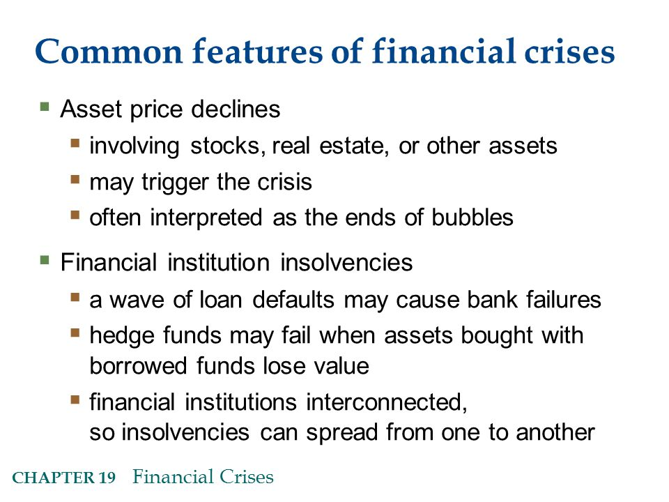 Common features of financial crises