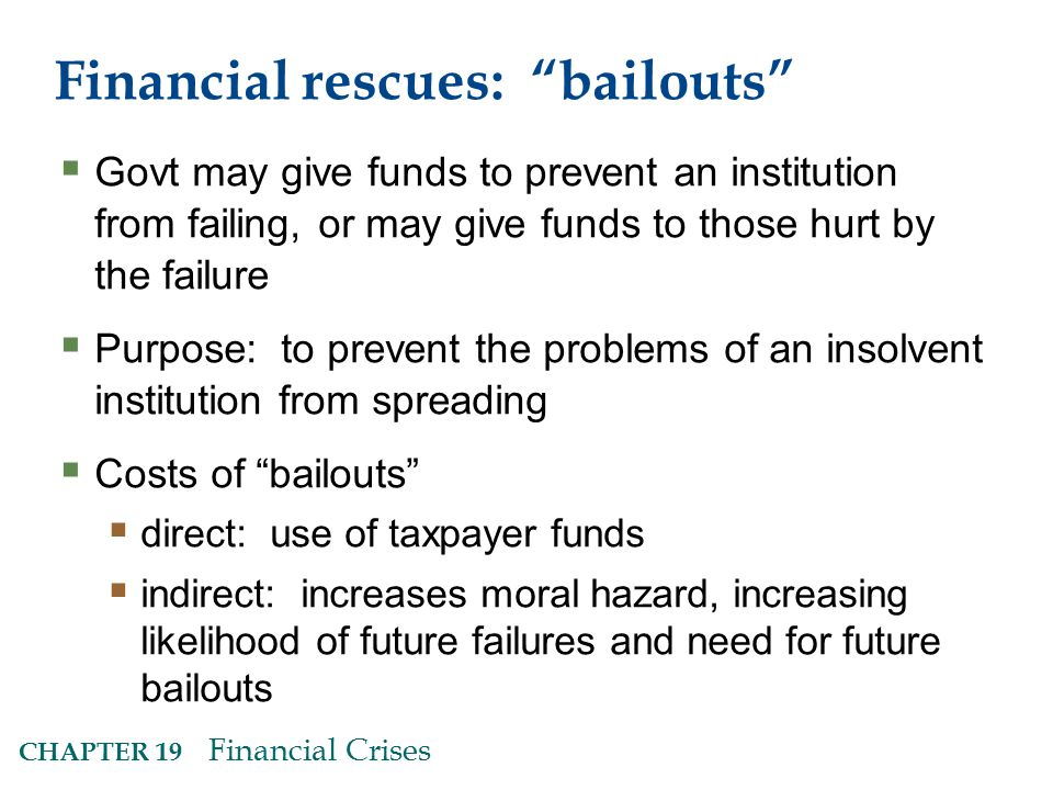 Financial rescues: bailouts