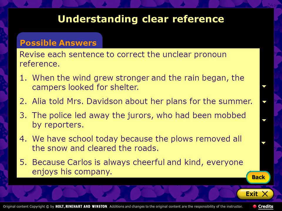 Understanding clear reference