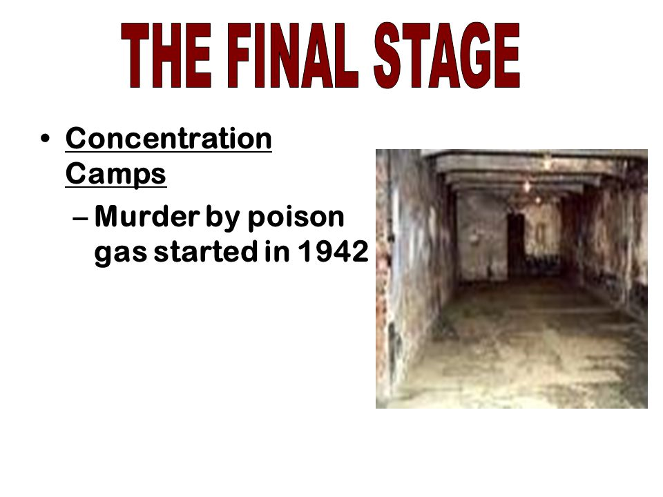 THE FINAL STAGE Concentration Camps