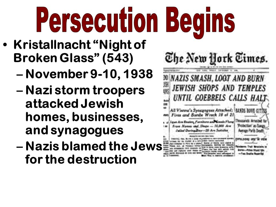 Persecution Begins Kristallnacht Night of Broken Glass (543)
