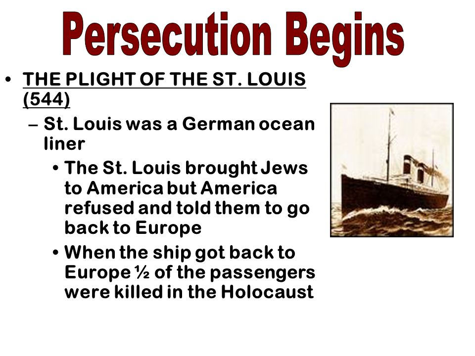 Persecution Begins THE PLIGHT OF THE ST. LOUIS (544)