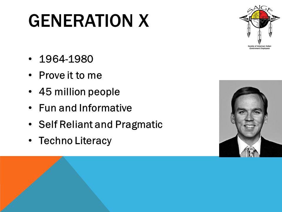 Generation X 1964-1980 Prove it to me 45 million people