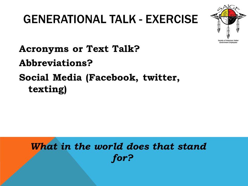 Generational Talk - Exercise