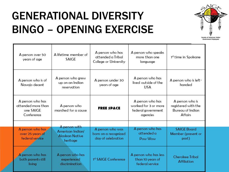 Generational Diversity Bingo – Opening Exercise
