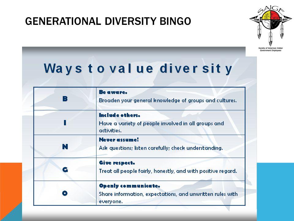 Generational Diversity BINGO