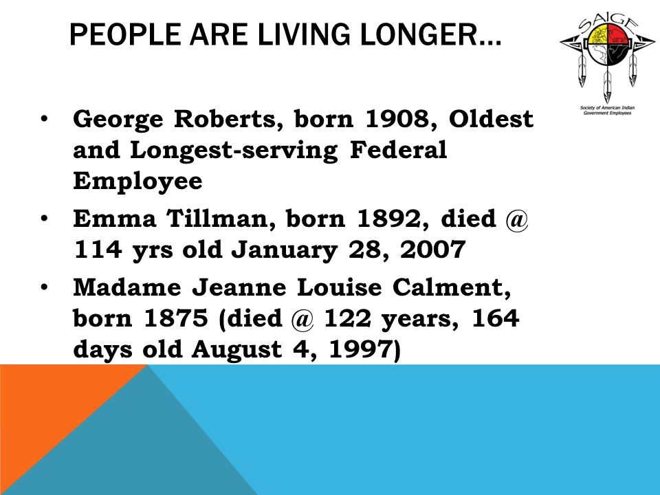 People are Living Longer…