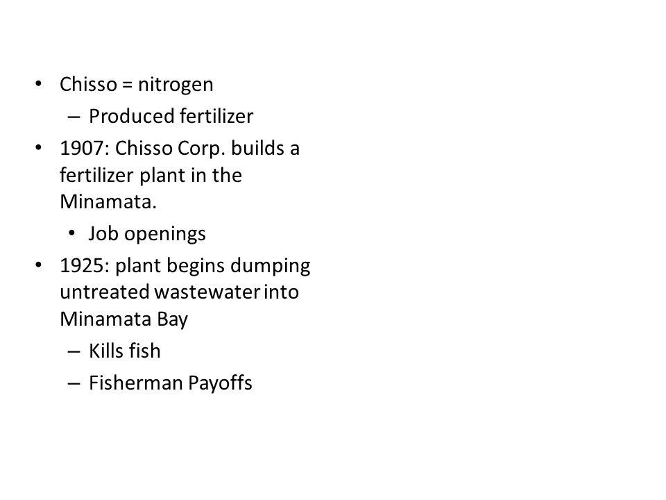Chisso Corporation Chisso = nitrogen Produced fertilizer