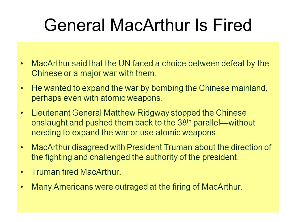 General MacArthur Is Fired