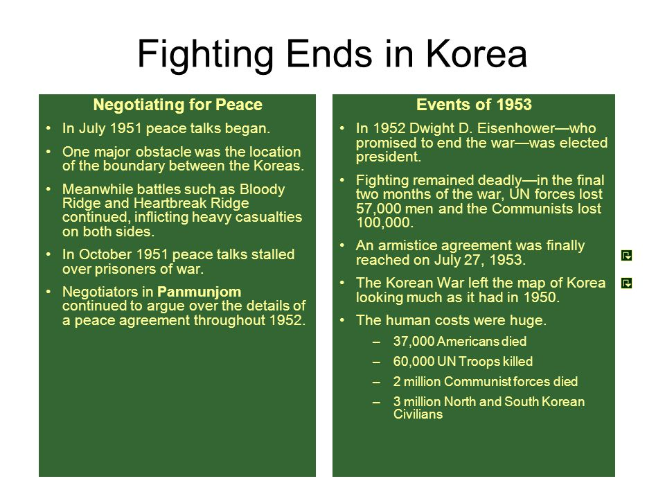 Fighting Ends in Korea Negotiating for Peace Events of 1953