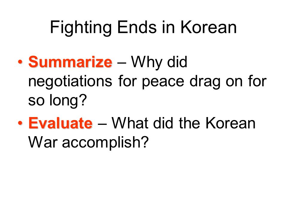 Fighting Ends in Korean