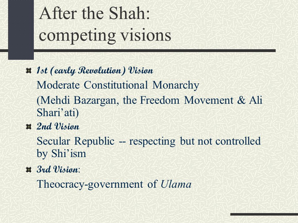After the Shah: competing visions