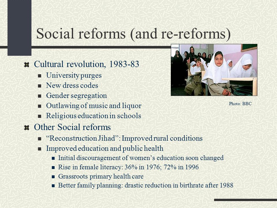Social reforms (and re-reforms)