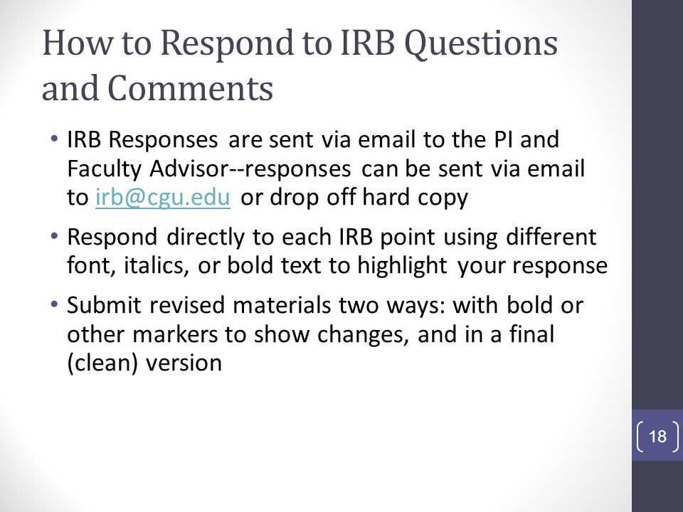 How to Respond to IRB Questions and Comments