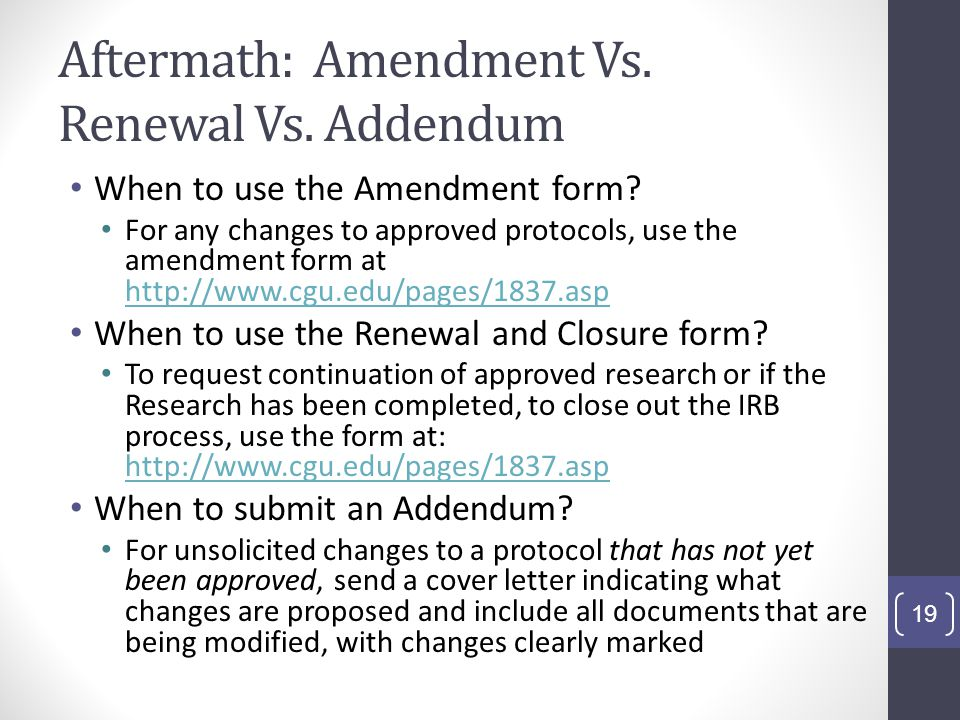 Aftermath: Amendment Vs. Renewal Vs. Addendum