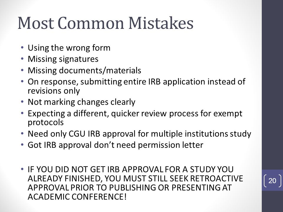 Most Common Mistakes Using the wrong form Missing signatures