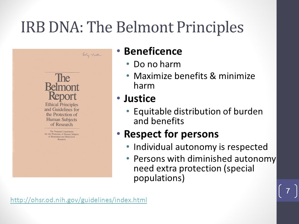IRB DNA: The Belmont Principles
