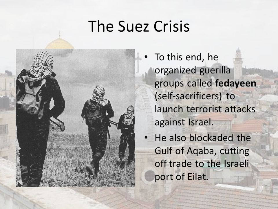 The Suez Crisis To this end, he organized guerilla groups called fedayeen (self-sacrificers) to launch terrorist attacks against Israel.