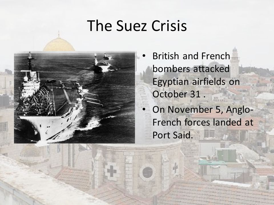The Suez Crisis British and French bombers attacked Egyptian airfields on October 31 .