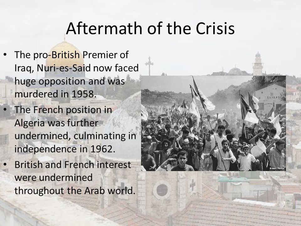 Aftermath of the Crisis
