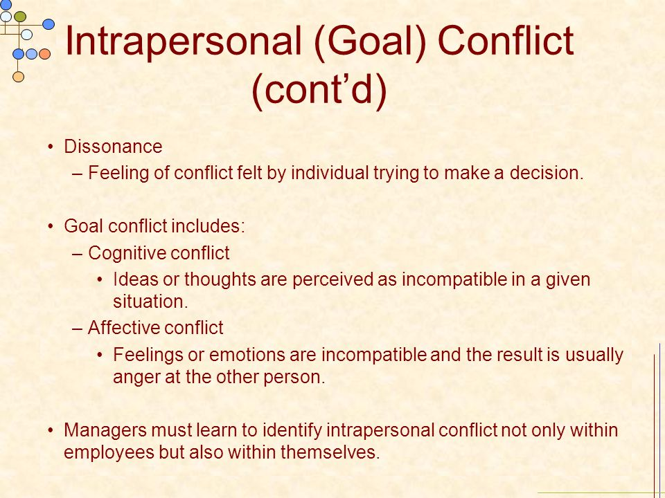 Intrapersonal (Goal) Conflict (cont'd)