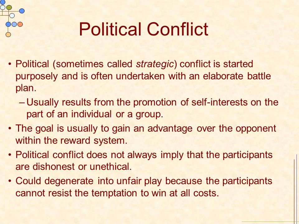 Political Conflict Political (sometimes called strategic) conflict is started purposely and is often undertaken with an elaborate battle plan.