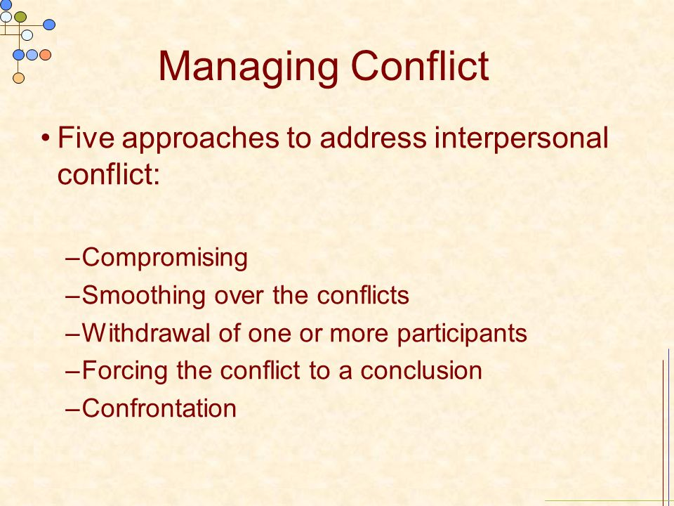 Managing Conflict Five approaches to address interpersonal conflict: