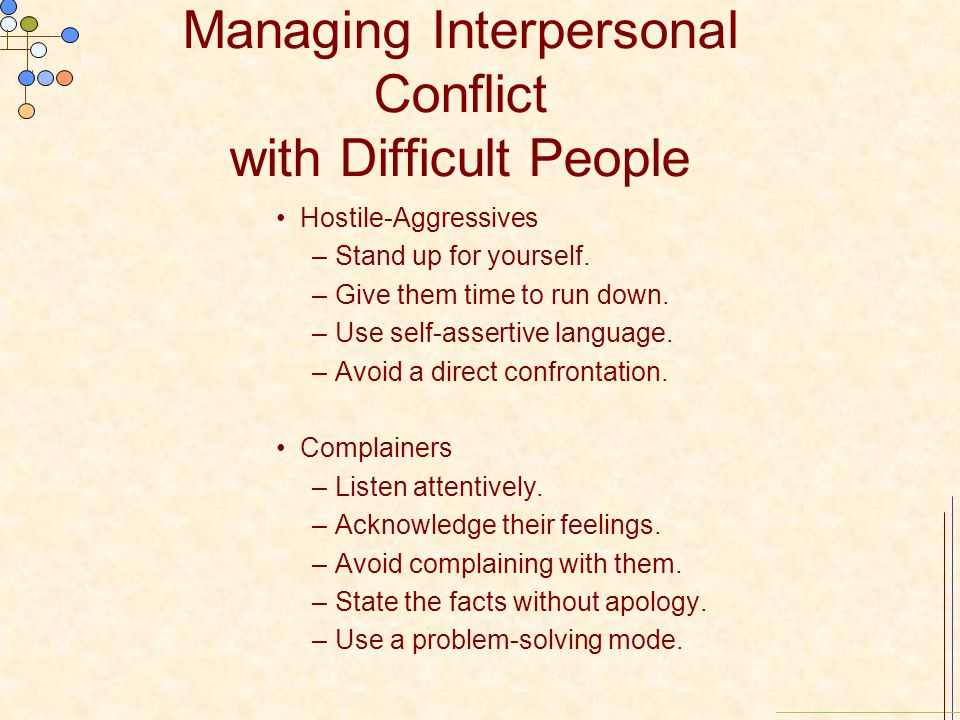Managing Interpersonal Conflict with Difficult People