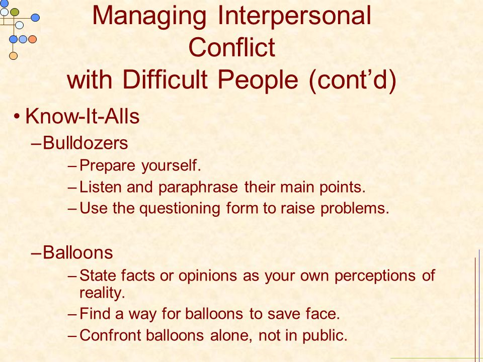Managing Interpersonal Conflict with Difficult People (cont'd)