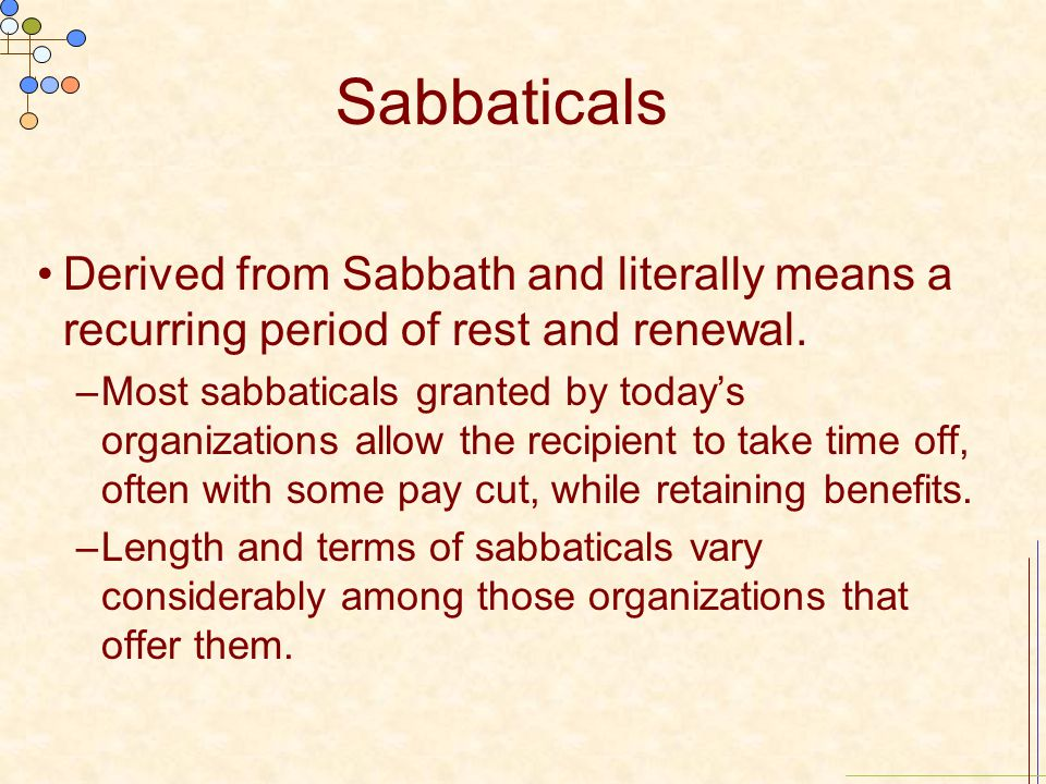 Sabbaticals Derived from Sabbath and literally means a recurring period of rest and renewal.