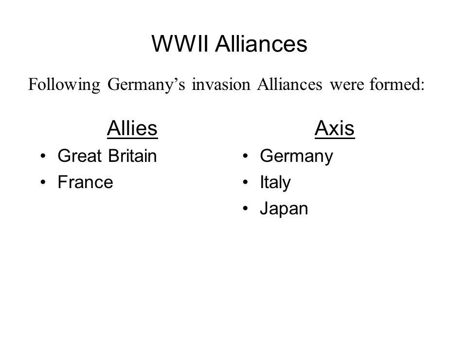 WWII Alliances Allies Axis