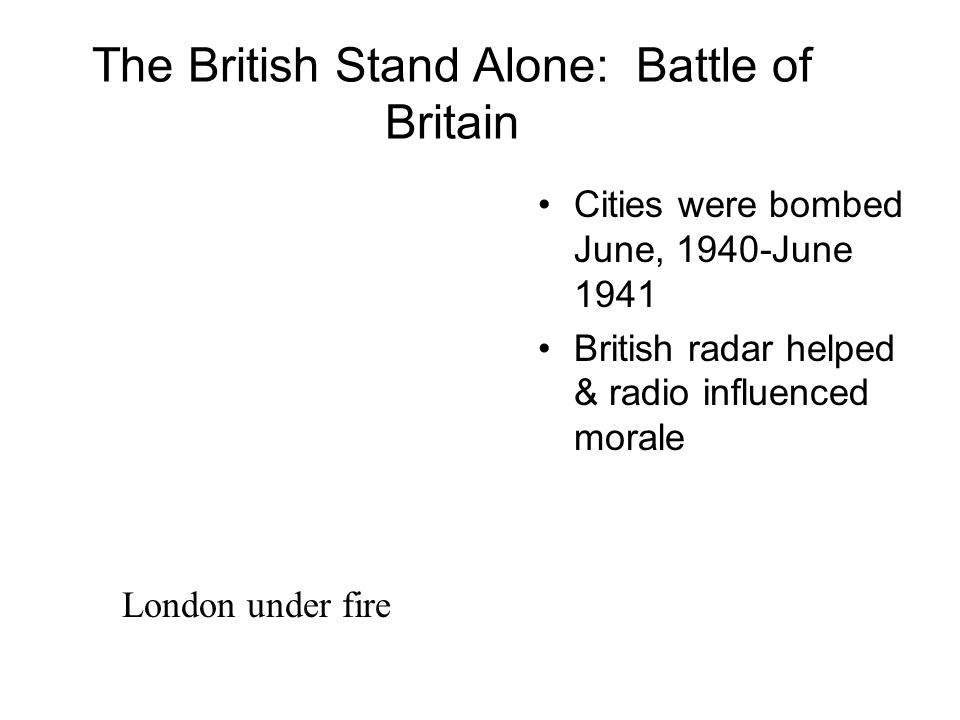 The British Stand Alone: Battle of Britain