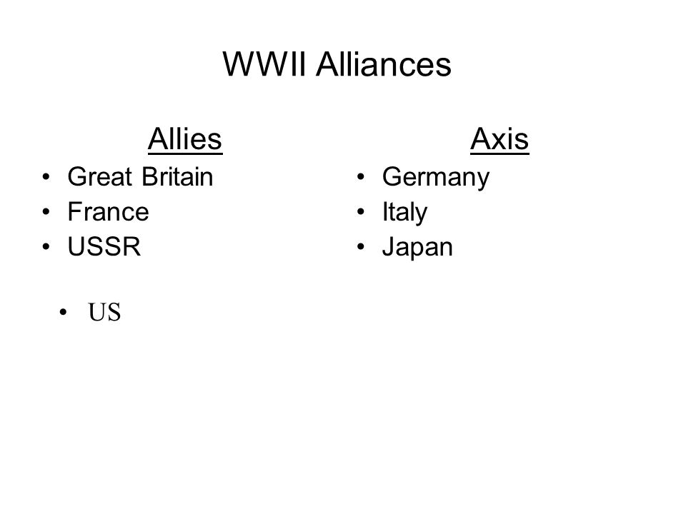 WWII Alliances Allies Axis Great Britain France USSR Germany Italy