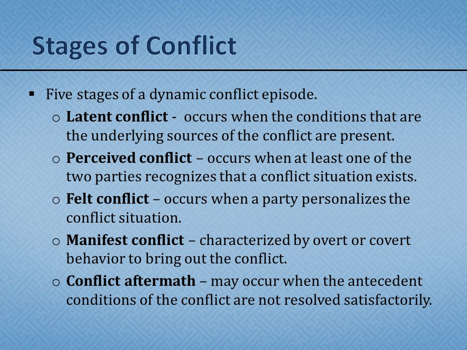 Stages of Conflict Five stages of a dynamic conflict episode.