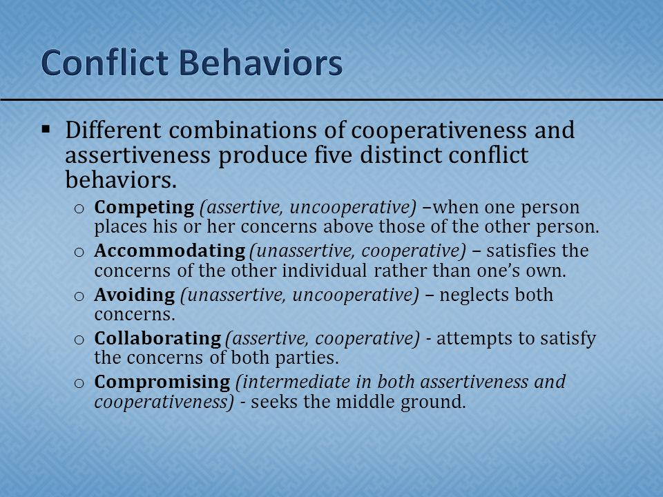 Conflict Behaviors Different combinations of cooperativeness and assertiveness produce five distinct conflict behaviors.