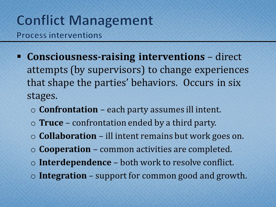 Conflict Management Process interventions