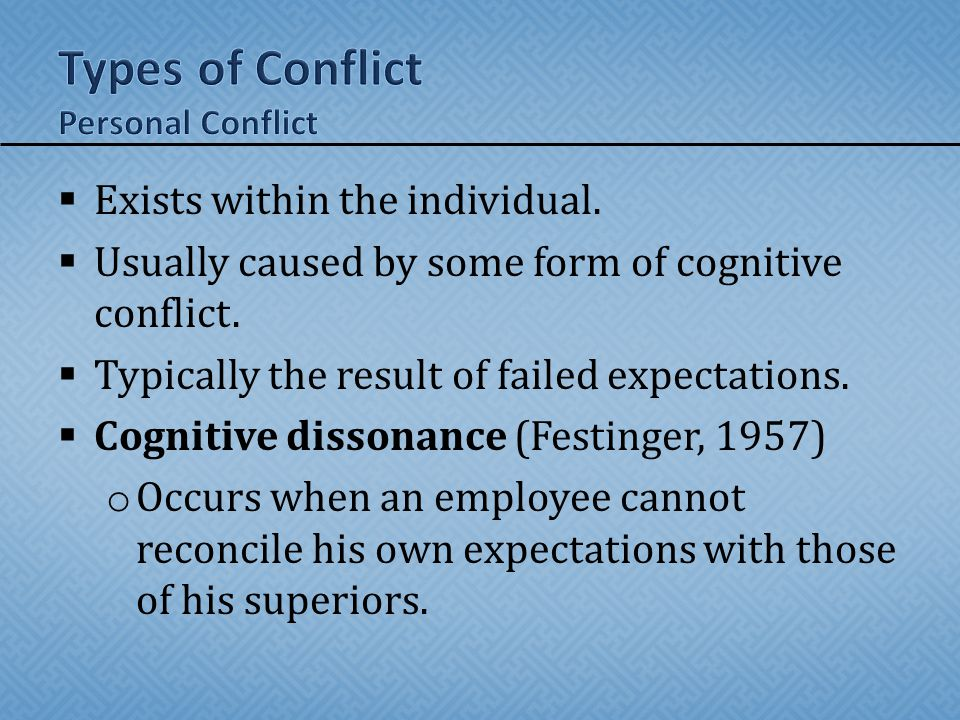 Types of Conflict Personal Conflict
