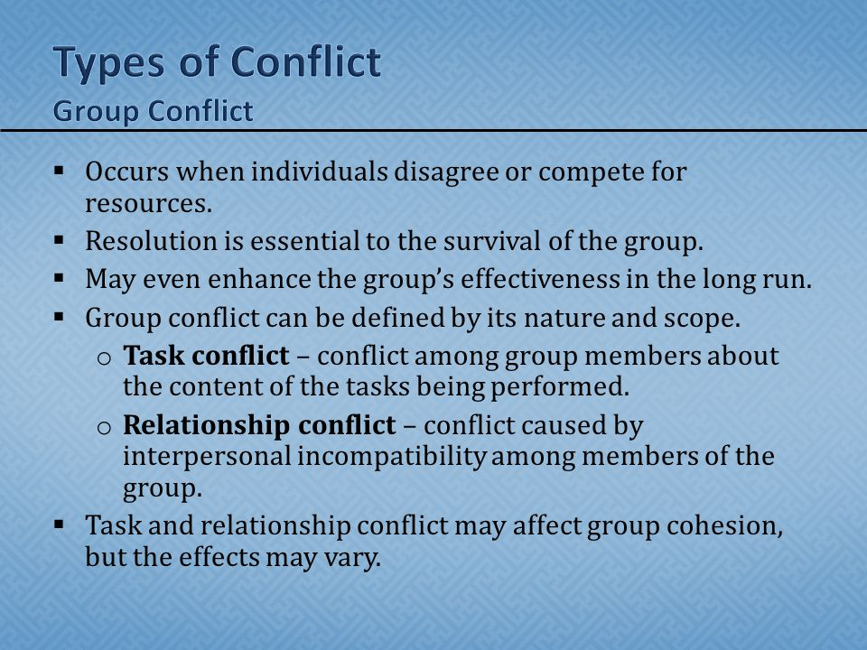 Types of Conflict Group Conflict