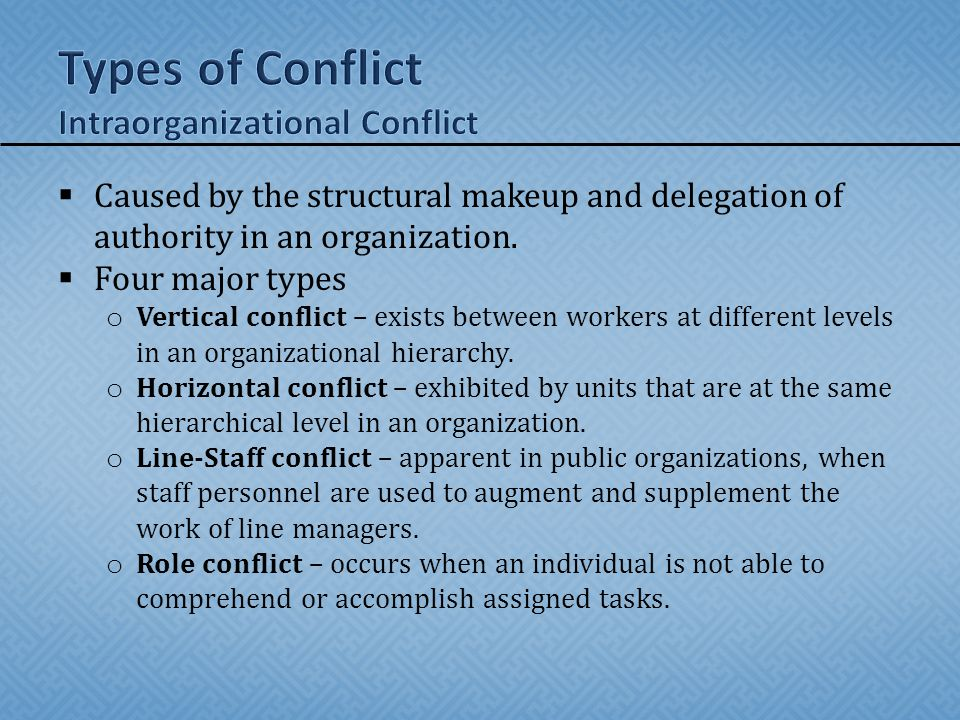 Types of Conflict Intraorganizational Conflict