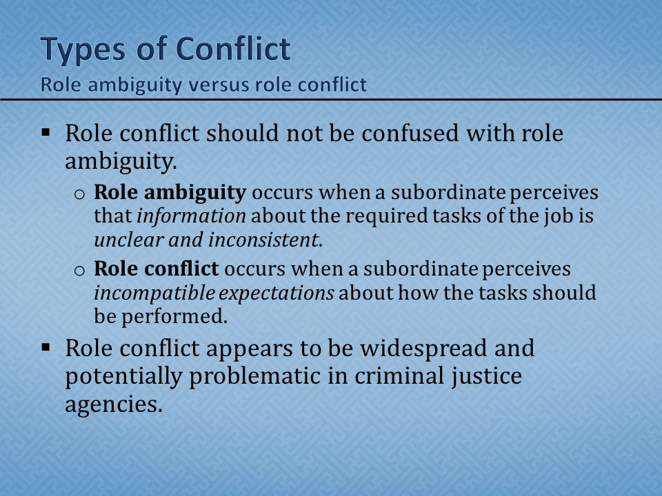 Types of Conflict Role ambiguity versus role conflict