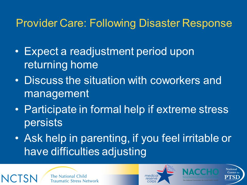 Provider Care: Following Disaster Response