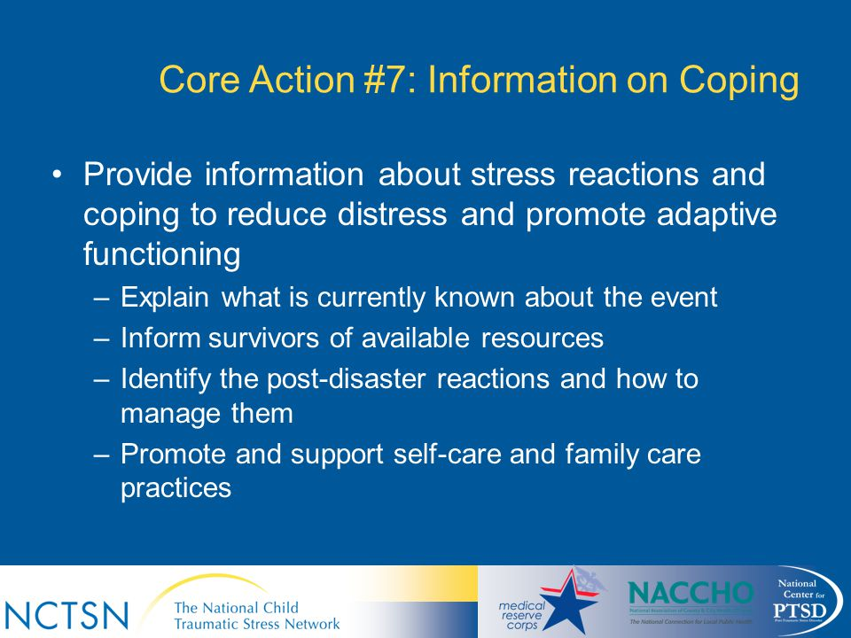 Core Action #7: Information on Coping