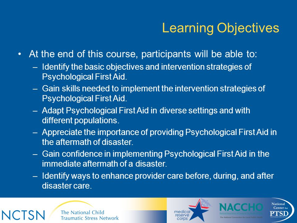Learning Objectives At the end of this course, participants will be able to:
