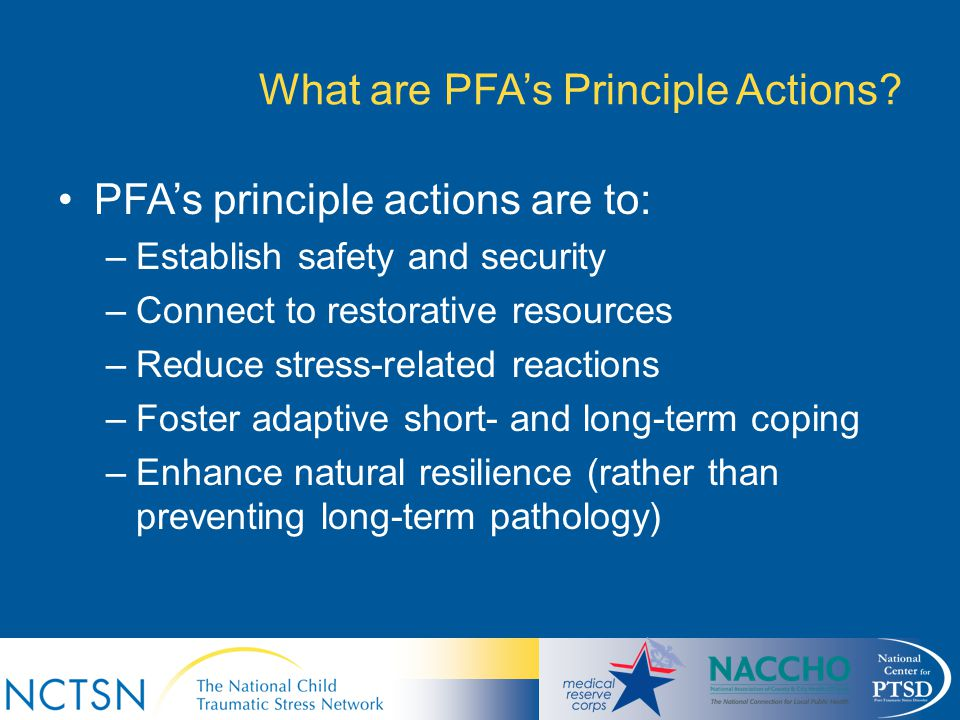 What are PFA's Principle Actions