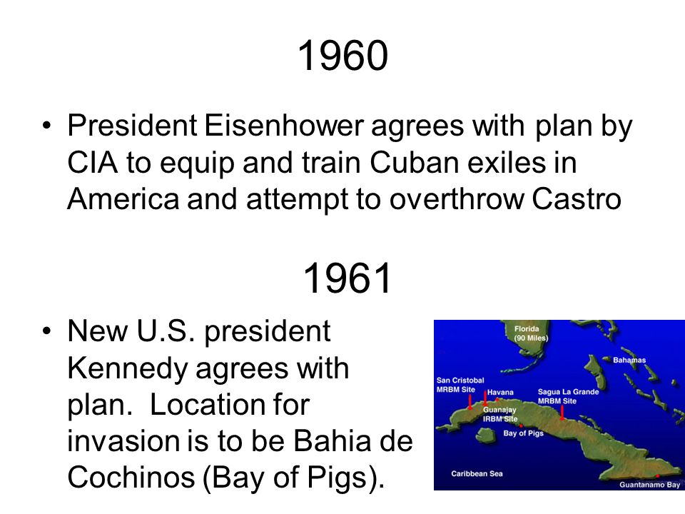1960 President Eisenhower agrees with plan by CIA to equip and train Cuban exiles in America and attempt to overthrow Castro.