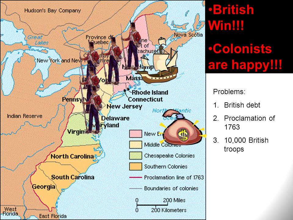 British Win!!! Colonists are happy!!! Problems: British debt