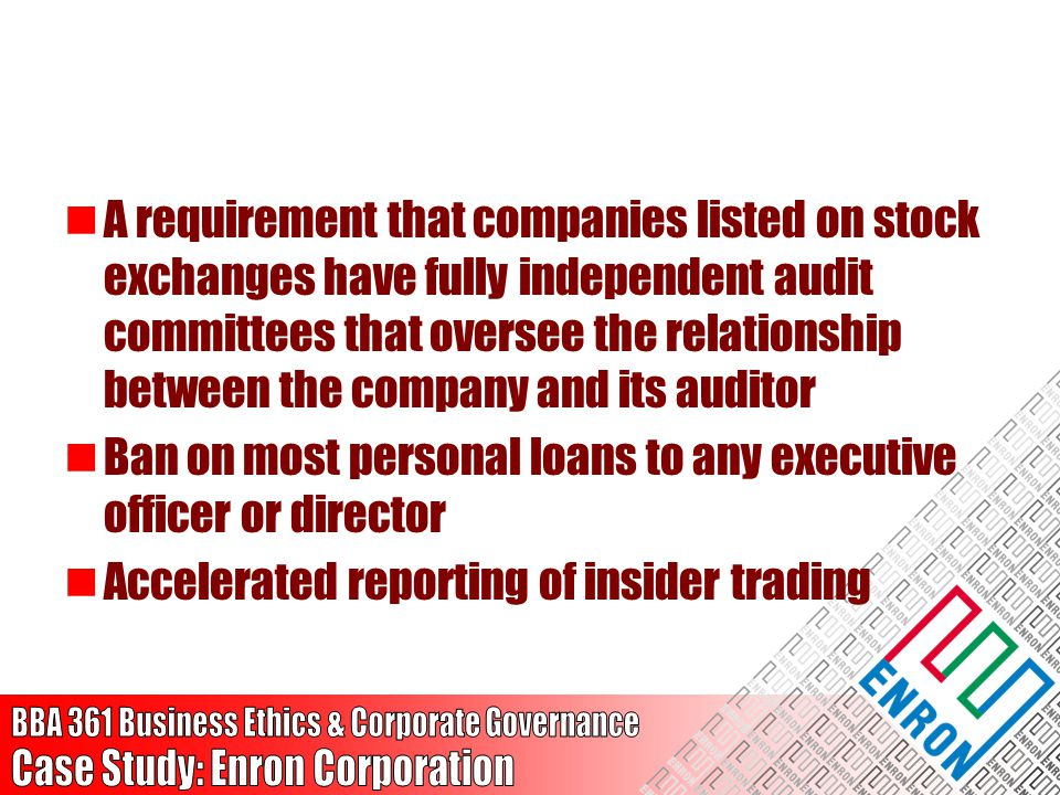 A requirement that companies listed on stock exchanges have fully independent audit committees that oversee the relationship between the company and its auditor
