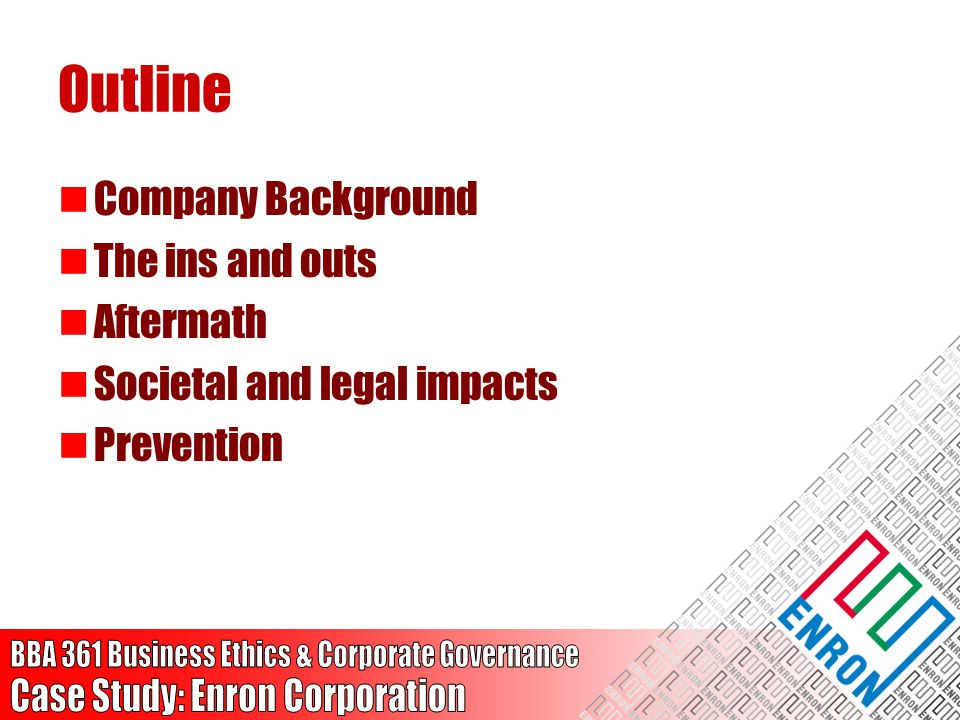 Outline Company Background The ins and outs Aftermath