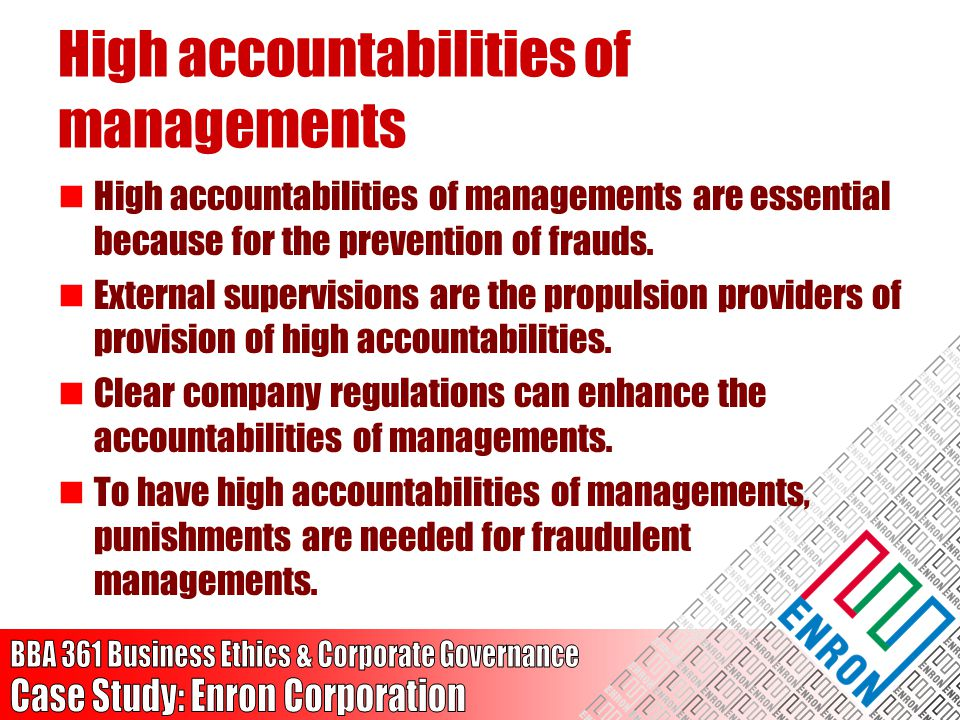 High accountabilities of managements