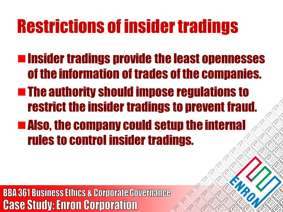 Restrictions of insider tradings